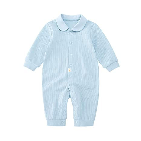 b488a7d871d pureborn Baby Coverall Natural Cotton Jumpsuit Newborn Onesie Sleep Romper  Pajamas Long Sleeve Solid Blue 6-9 Months  Amazon.in  Baby