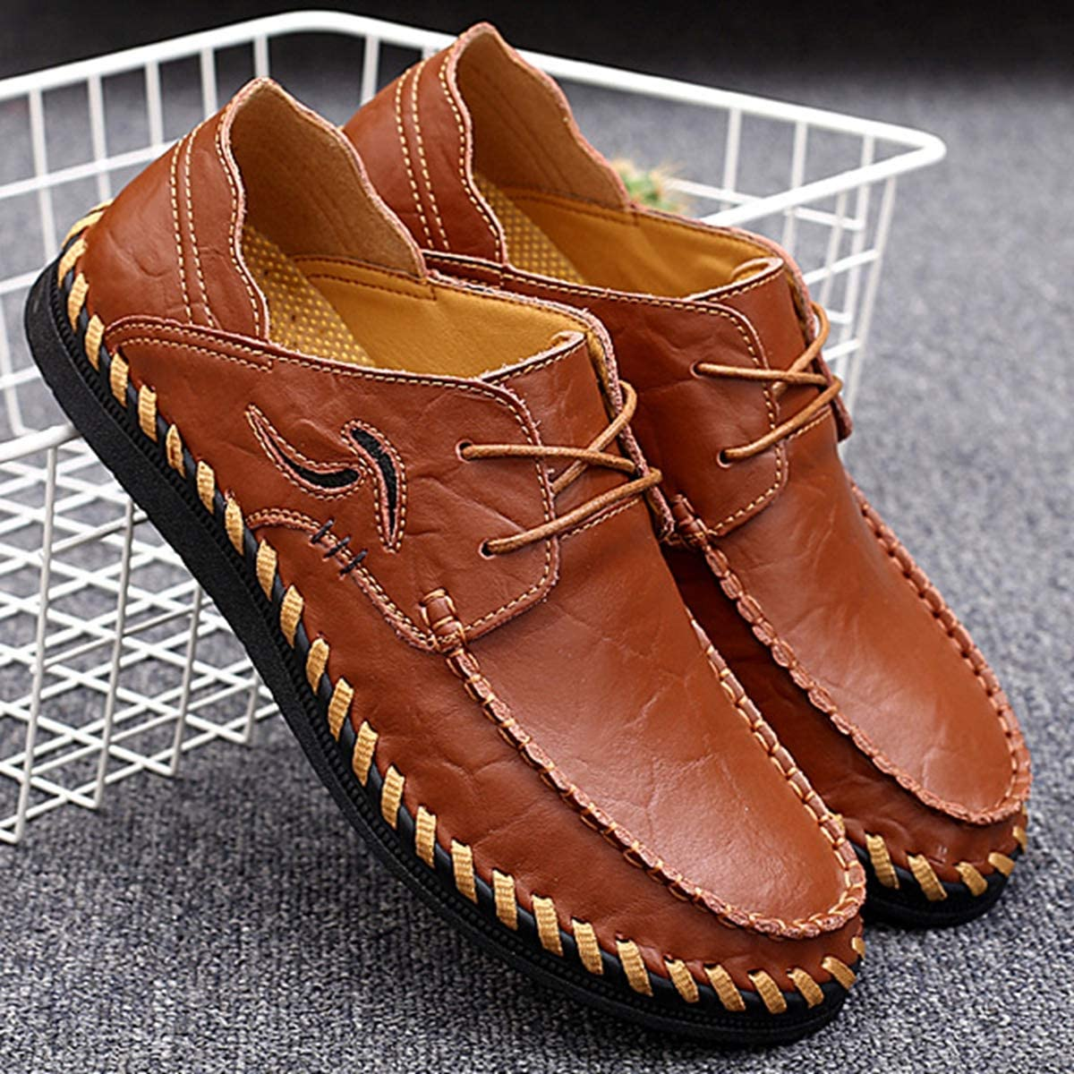 FOXSENSE Casual Outdoor Premium Genuine Leather Breathable Walking Shoes Loafers for Man