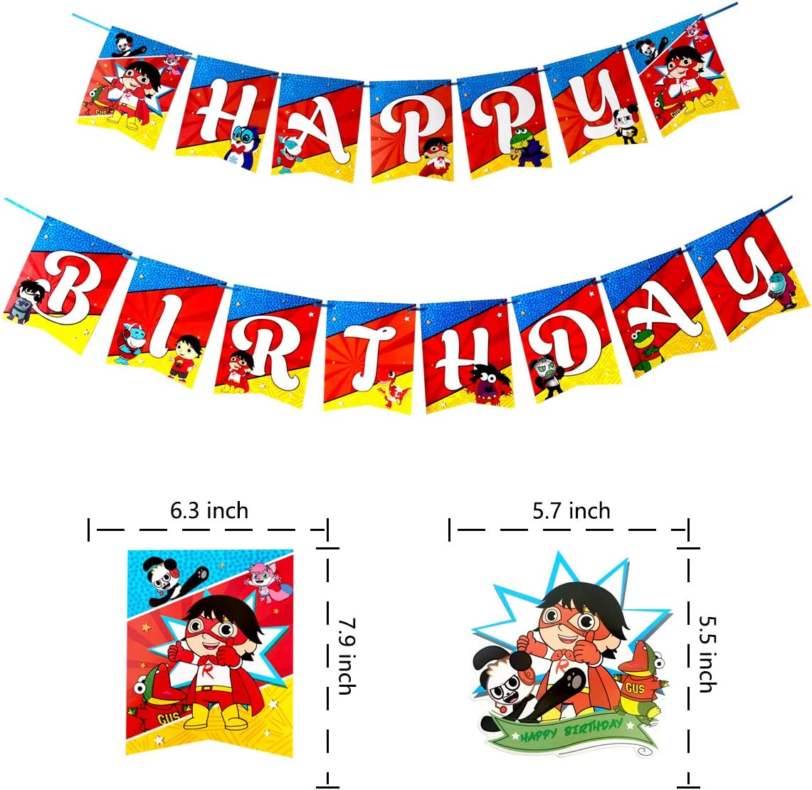 Ryans World Birthday Party Supplies,Happy Birthday Banner Cake Topper Cupcake Toppers for Boy Girl Ryans World Theme Birthday Party Decorations