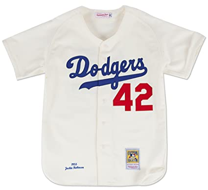 brand new a345e a023d Mitchell & Ness Jackie Robinson Brooklyn Dodgers Authentic 1955 Home Jersey