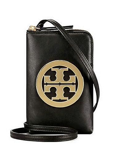 d8164254a3f Amazon.com  Tory Burch Charlie Mini Phone Cross body Case Women s Leather  Handbag 52863 (Black)  Shoes