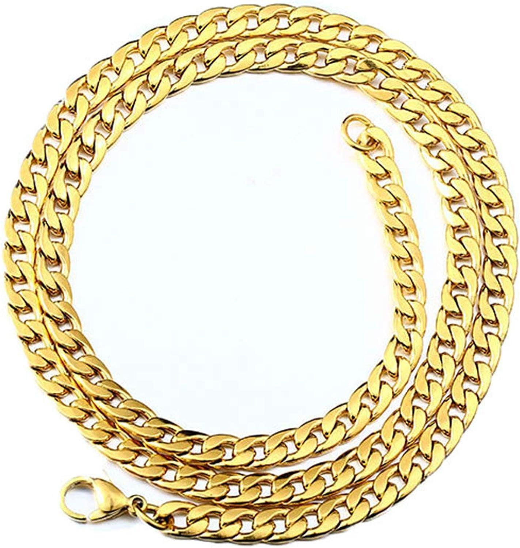 Aeici Collares de Hombre Acero Inoxidable Cadena Curb Collares para Hombres Oro