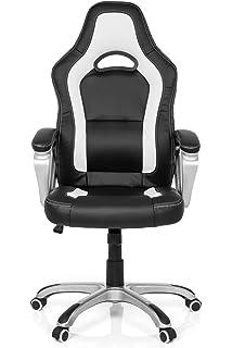 Schreibtischstuhl schwarz weiß  Chefsessel GAMING PRO BY 100 Kunstleder Schwarz-Weiß Ergonomischer ...
