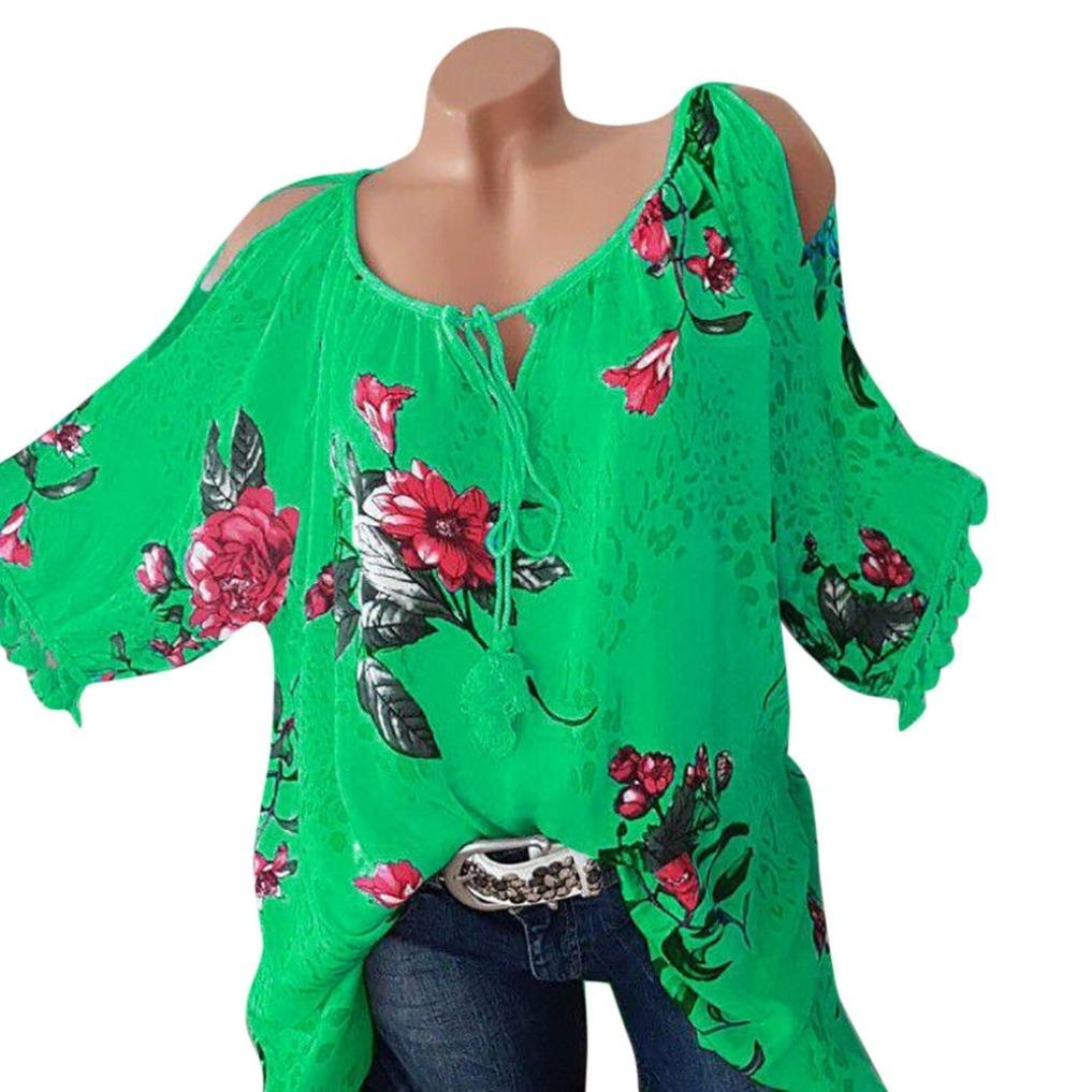 820092fca167 Big Sale! Women Blouse Daoroka Sexy Plus Size Floral Tassel Short Sleeve  Bandage Casual Tops at Amazon Women s Clothing store
