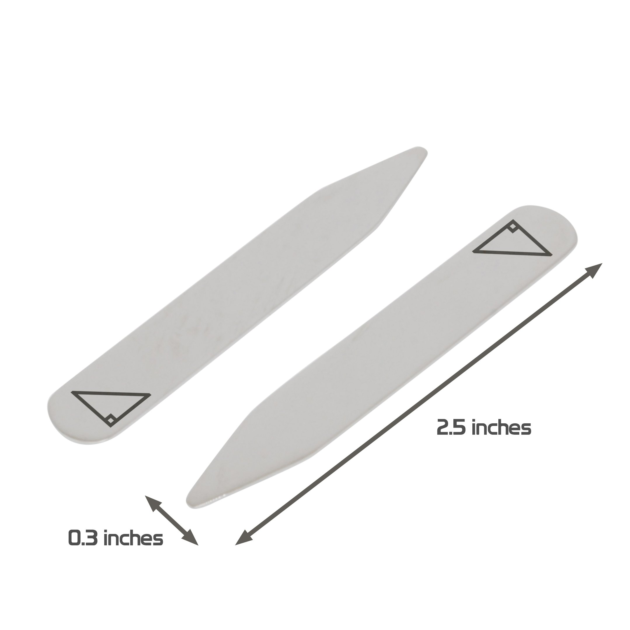 MODERN GOODS SHOP Stainless Steel Collar Stays With Laser Engraved Right Triangle Design - 2.5 Inch Metal Collar Stiffeners - Made In USA by Modern Accessories Co (Image #3)