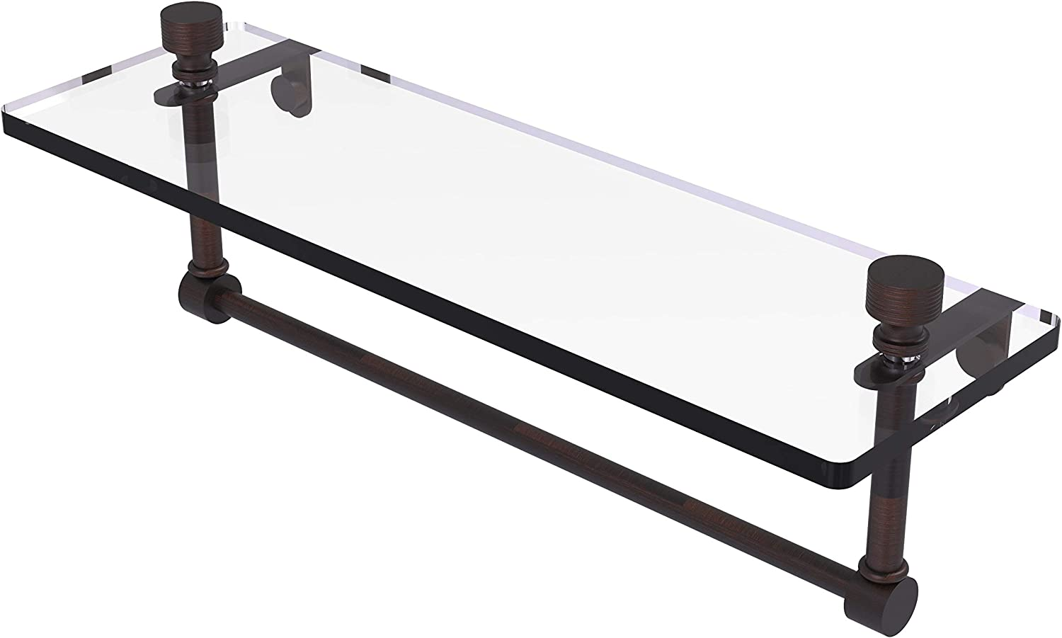 Allied Brass NS-1//16TB-VB 16 Inch Glass Vanity Shelf with Integrated Towel Bar Venetian Bronze