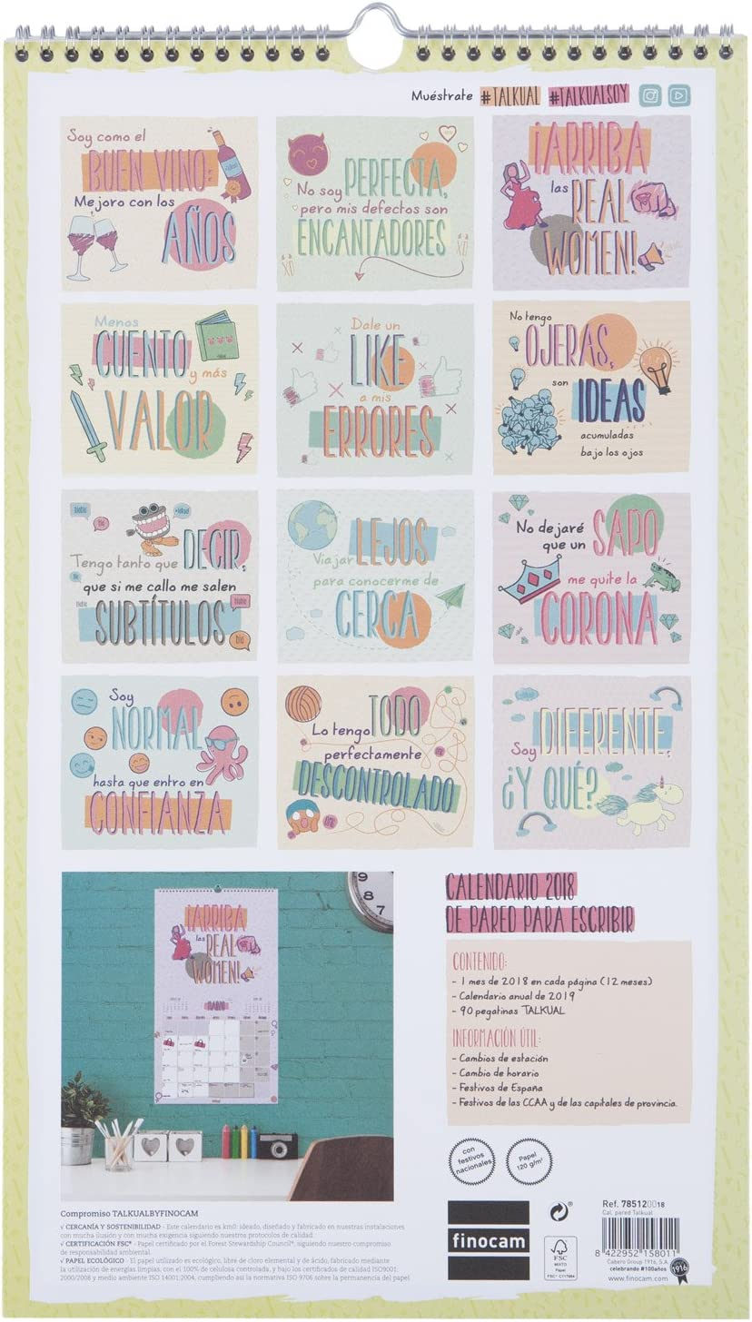 Finocam Talkual - Calendario de pared 2018, español, 250 x 430 mm ...