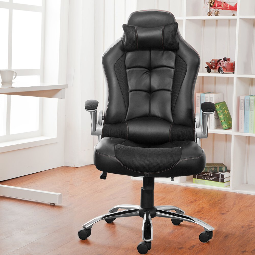 Office Chair Desk Chair Racing Chair Computer Chair With High Back PU  Leather Executive (Black): Amazon.co.uk: Kitchen U0026 Home