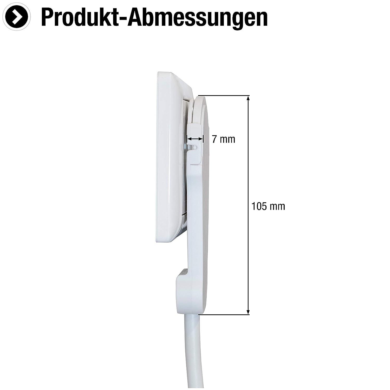 IP20 Innenbereich // Verl/ängerungskabel mit Kinderschutz // Schuko-Verl/ängerung mit Flachstecker // Stromkabel // 7432240 schwarz Extraflacher Stecker Meister Schutzkontakt-Verl/ängerung 2 m Kabel
