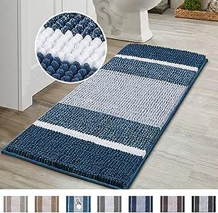 Machine Washable Non-Skip Bath Carpet SOFTOWN Luxury Chenille Bathroom Rugs Super Soft Plush Striped and Absorbent Microfiber Bath Mat for Bathroom