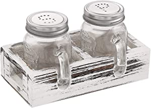 Elwiya Farmhouse Mason Jar Salt and Pepper Shakers Set with Wood Tray for Vintage, Rustic Kitchen Table Decor, Vintage Home Decoration, Restaurants and Gift