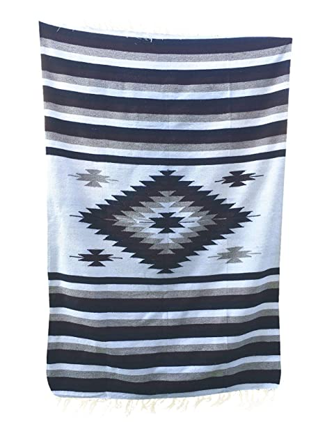 Del Mex Woven Mexican Southwest Large Center Diamond Blanket Yoga Serape (Brown/Tan)