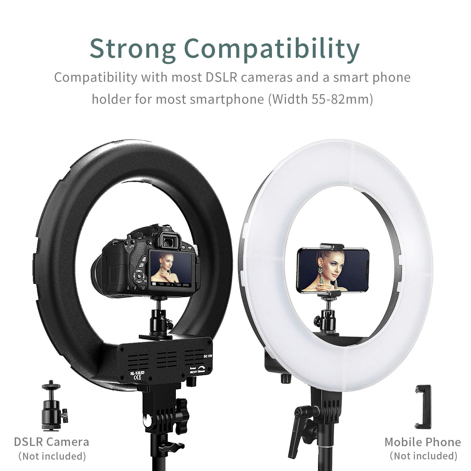 42W 5500K 180 LED Dimmable Camera Photo Video Lighting kit FOSITAN 14-inch Ring Light Kit 2M Adjustable Light Stand Bluetooth Receiver for Smartphone Youtube Video Shooting