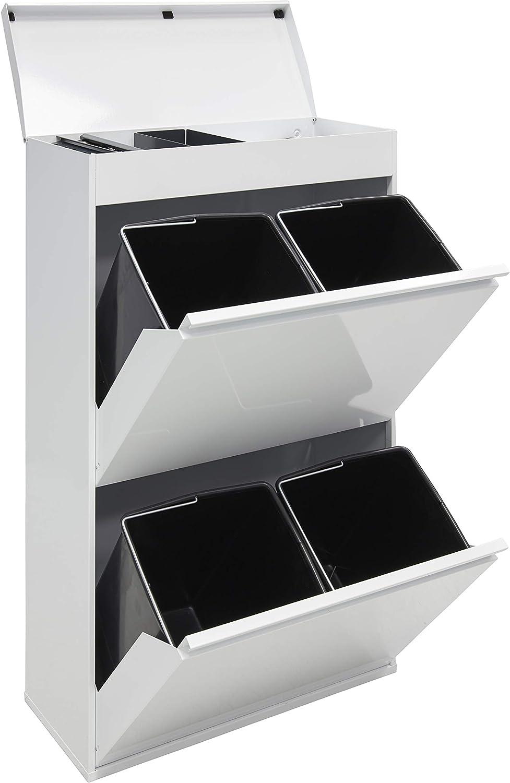 Arregui Top CR621-B Cubo de Basura y Reciclaje de Acero de 4 Cubos y Bandeja Superior Multiusos, Blanco, 97,5 x 58,6 x 24,4 cm