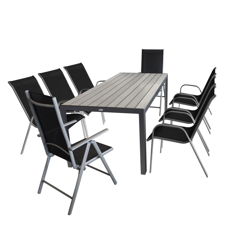 9tlg Gartensitzgruppe Gartentisch, Polywood Tischplatte grau, Aluminiumrahmen + 2x Hochlehner, 7-fach verstellbare Rückenlehne, Aluminium, Textilenbespannung + 6x Stapelstuhl, pulverbeschichtetes Gestell, stapelbar