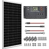 WEIZE 100 Watt 12 Volt Solar Panel Starter Kit, High Efficiency Monocrystalline PV Module for Home, Camping, Boat, Caravan, R