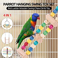 Goolsky 4PCS in 1 Parrot Hanging Swing Toy Set Bird Ladder Wooden Swing Chew Climb Toy for Parrot Parakeets Cockatiels Conures Macaws