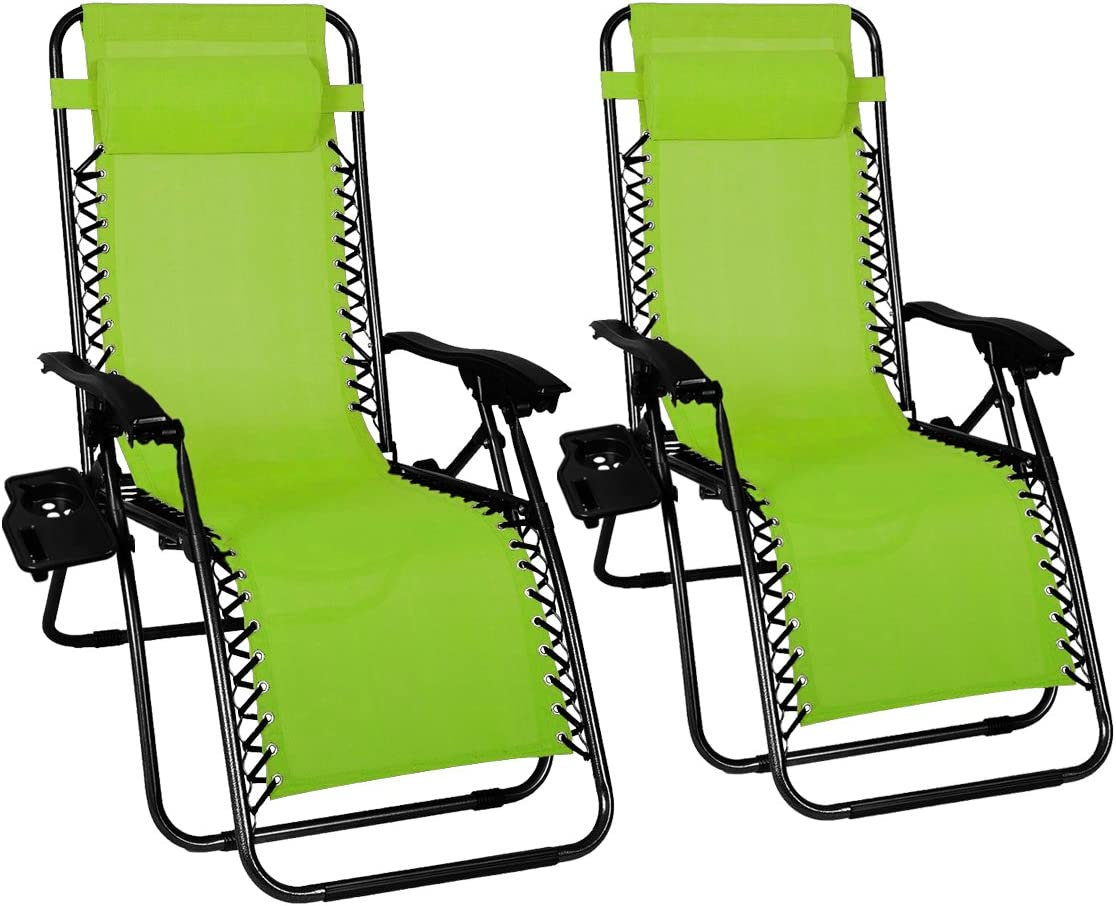 Odaof Adjustable Patio Outdoor Zero Gravity Chair Recliner Lounge Chair W Cup Holder, 2Pack, Light Green