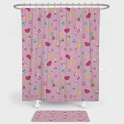 Sweet Shower Curtain And Floor Mat Combination Set Candies Yummy Treats Watermelon Creative Delicious Tastes Kids