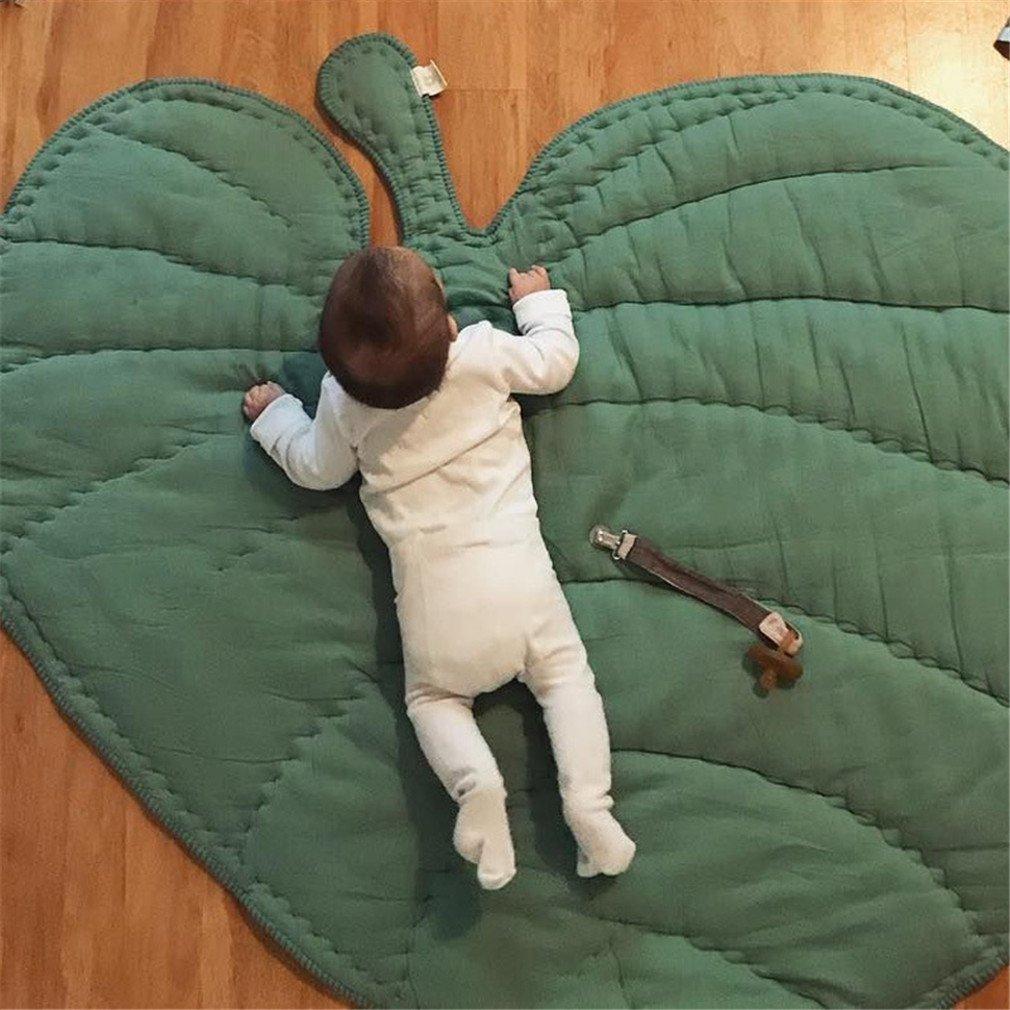 MIRUIKE Cotton Baby Crawling Game Mat Carpet Tree Leaf Shape Children Home Decoration Mat Green