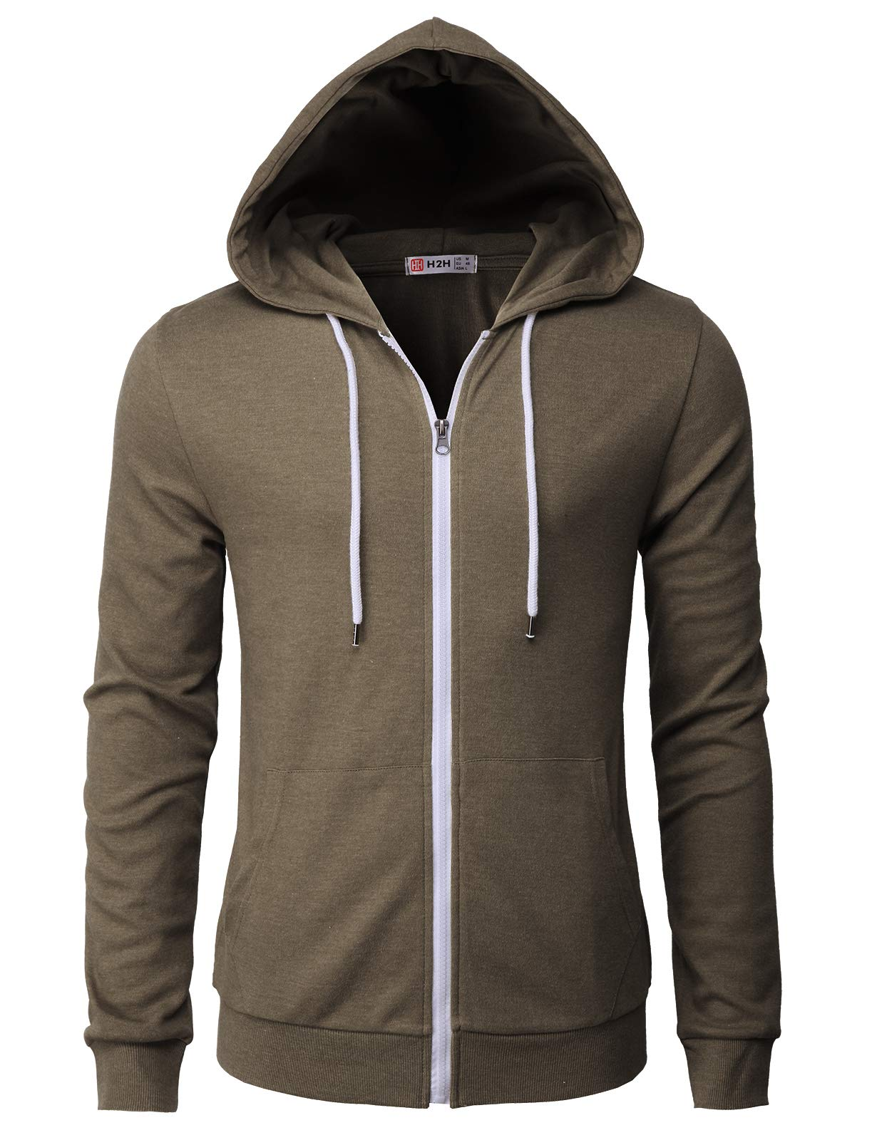 H2H Mens Casual Zip up Hoodie Basic Long Sleeve Zip up HEATHERBROWN US 2XL/Asia 3XL (CMOHOL048) by H2H (Image #1)