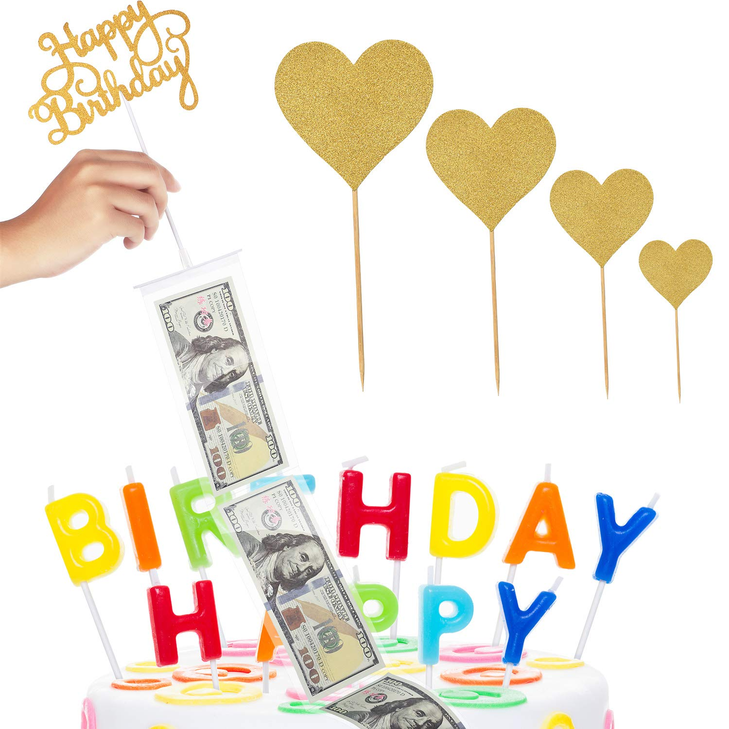 Cake Money Box Set Glitter Heart Cake Toppers Happy Birthday Cake Topper for Birthday Party Decoration by Boao
