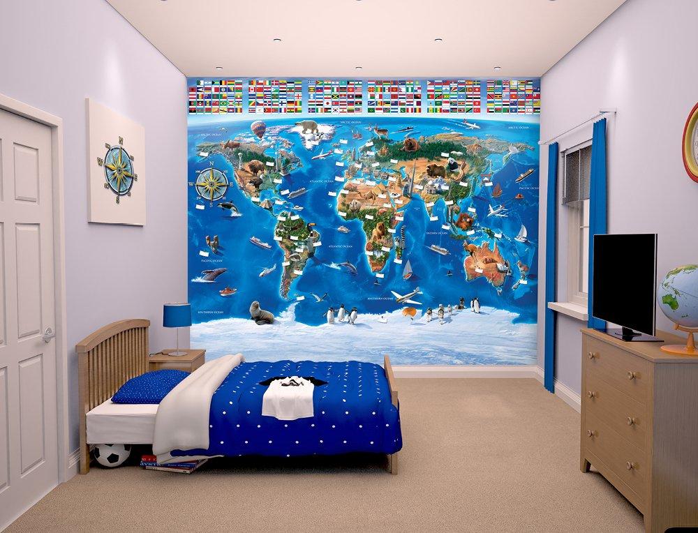 Walltastic, Mural, mapamundi, 243 cm x 304 cm Walltastic Ltd WT41851