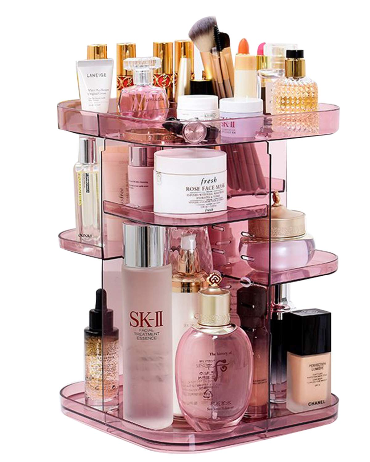 Raniaco 360 Rotating Makeup Organizer Countertop, Clear Acrylic Large Cosmetic Display Case for Brushes Lipsticks Rings, Gift for Girlfriend Lovers Wife Christmas, Valentine's Day, Mother's Day