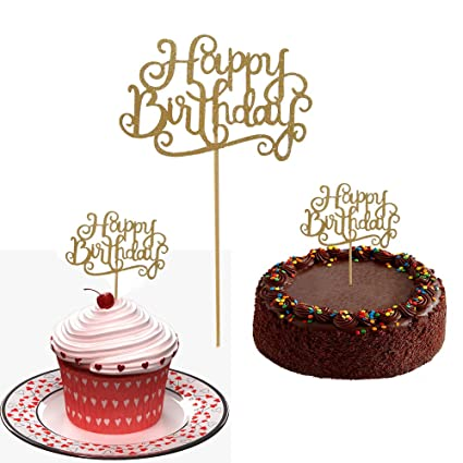 10 Gold Glittery Happy Birthday Cake Toppers Sparkling Cupcake Picks