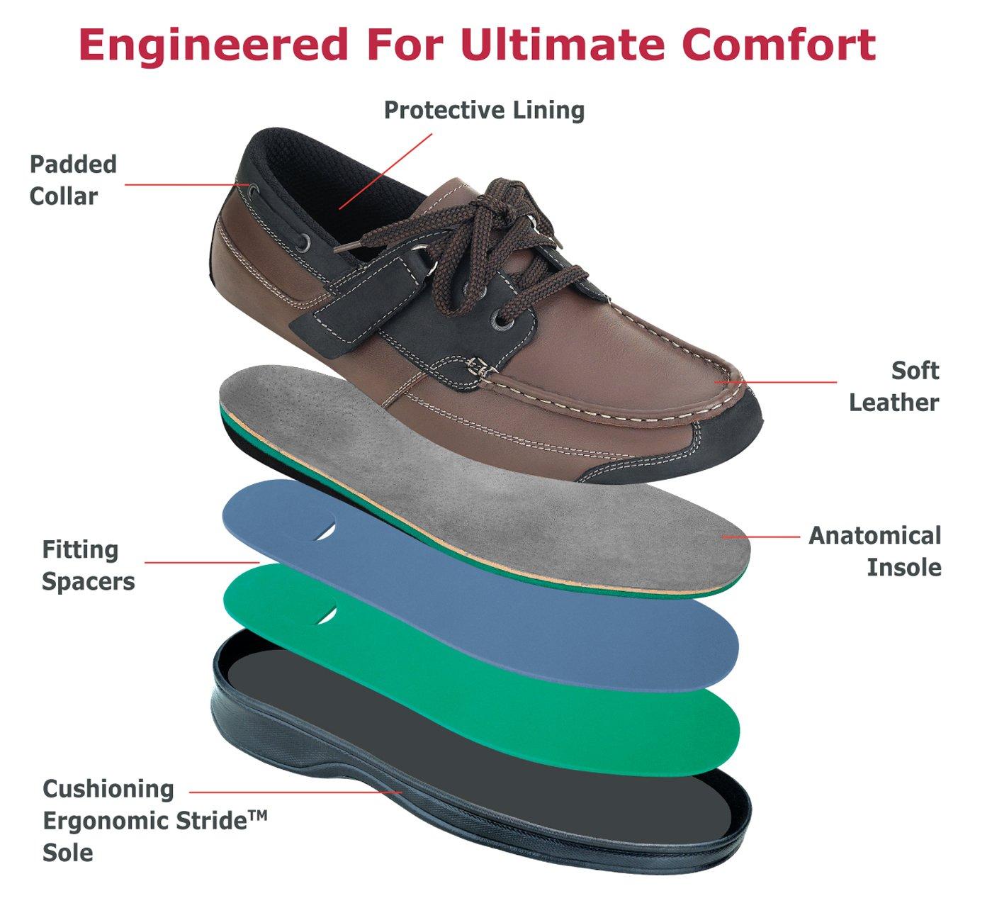 Orthofeet Baton Rouge Comfort Arthritis Orthopedic Mens Diabetic Boat Shoes Brown/Black Leather 11 XW US by Orthofeet (Image #6)
