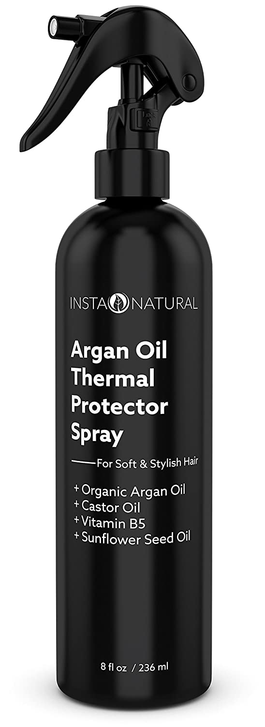 InstaNatural Thermal Protector Hair Spray - Best Heat Protectant Against Flat Iron - With Organic Argan Oil, Castor Oil, Vitamin B5 & Sunflower Seed Oil – Prevents Dryness, Damage & Split Ends – 8 OZ