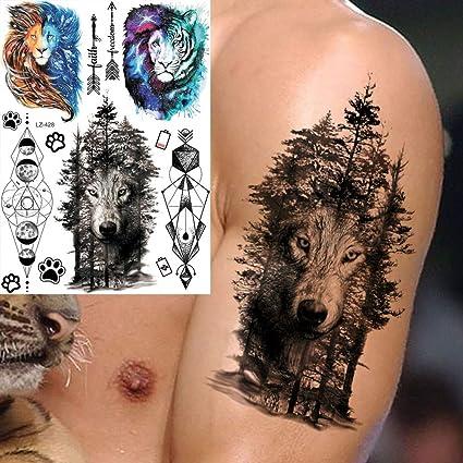 MRKAL Tatuaje Falso Tatuaje Bosque Lobo Galaxy Tigre Brazo ...