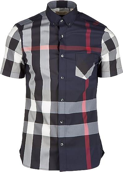 Burberry Camisa de Mangas Cortas Hombre Thornaby BLU: Amazon.es: Ropa y accesorios