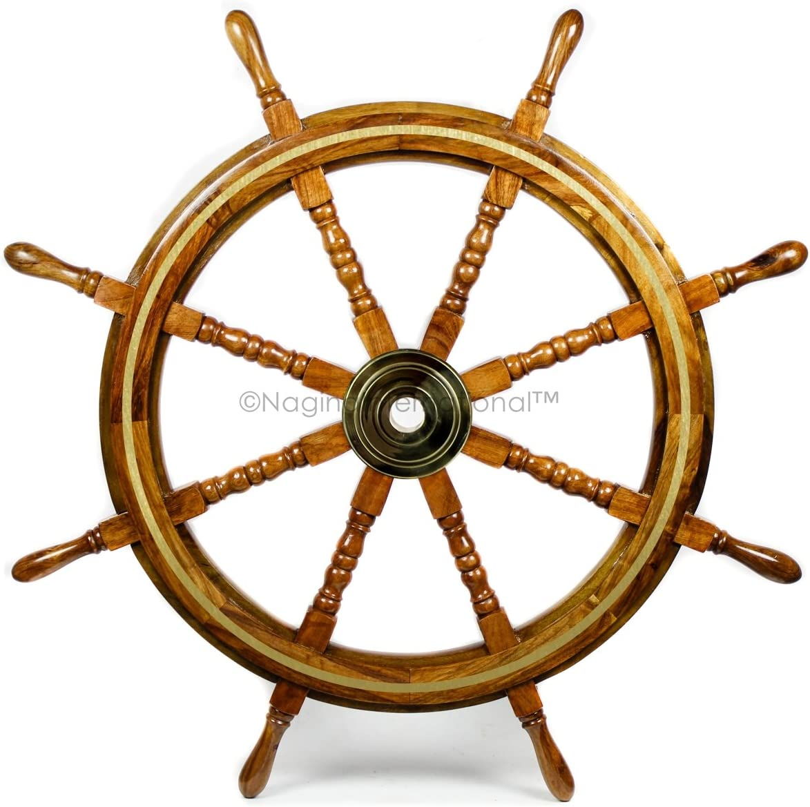 Nagina International Wooden Nautical Captain s Steering Ship Wheel with Brass Ring Hub – Pirate Home Ocean Beach Decor Gift – Nursery Wall Hangings 72 Inches