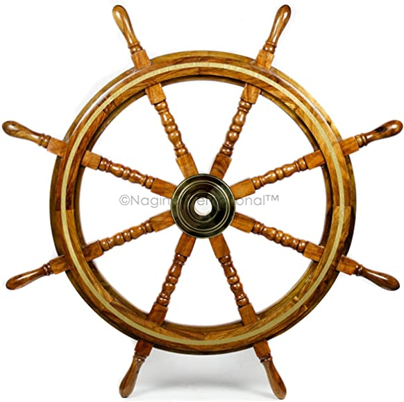 Nagina International Wooden Nautical Captain's Steering Ship Wheel
