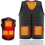 SHIPADO電熱ベスト 電熱ジャケット サイズ調整可能 USB加熱 バッテリー給電 3段階温度調整 5つヒーター 男女兼用 水洗い可能 アウトドア防寒対策 加熱服 ブラック