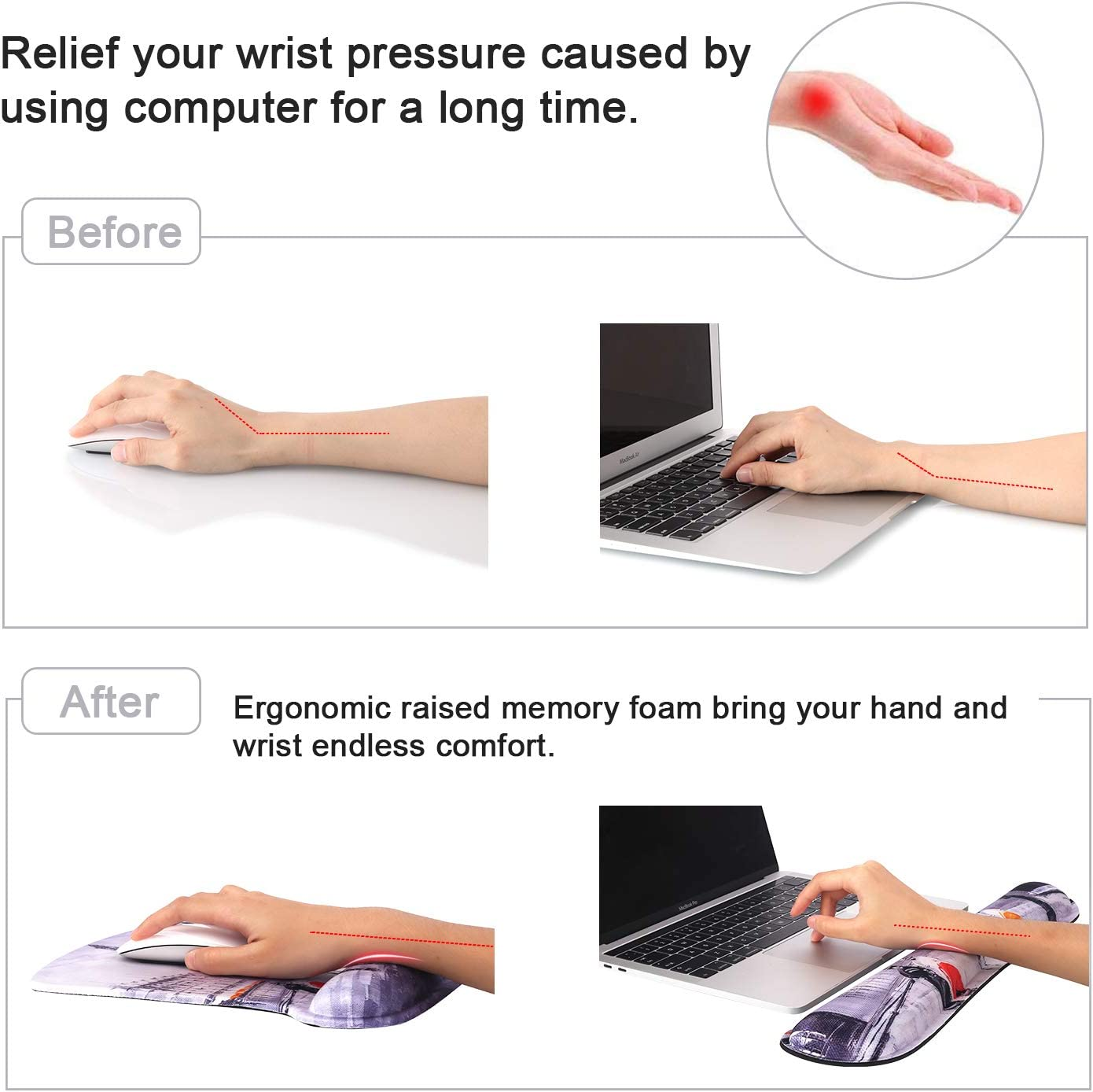 iCasso Mouse Pad Ergonomic Mousepad with Gel Wrist Rest Support Sloth Durable /& Comfortable Non-Slip Gaming Mouse Mat Wrist for Laptop Computer Home Office Easy Typing /& Pain Relief