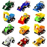 Mini Toy Cars Pull Back Vehicles 12 Pack Assorted Trucks and Raced Car Toy Play Set with Dump Trucks Diggers Bullozers Racing Cars Karting Construction Party Favors for Kids Boys 12 pieces(Color Vary)