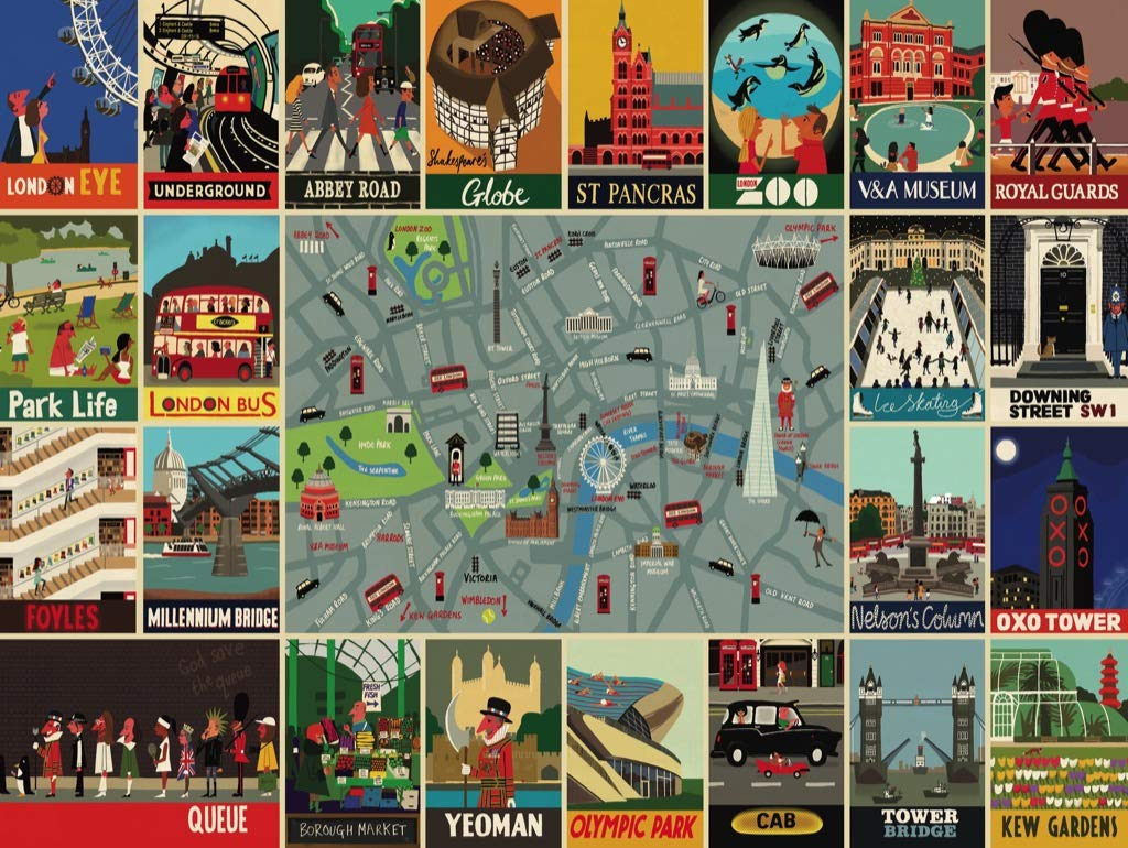 New York Puzzle Company 500 Piece Jigsaw Puzzle Paul Thurlby London Collage
