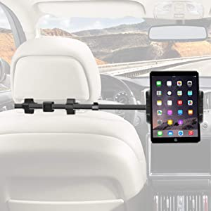 """Macally Car Headrest Mount Holder for Apple iPad Pro/Air/Mini, Tablets, Nintendo Switch, iPhone, Smartphones 4.5"""" to 10"""" Wide with Dual Adjustable Positions and 360° Rotation (HRMOUNTPROB)"""