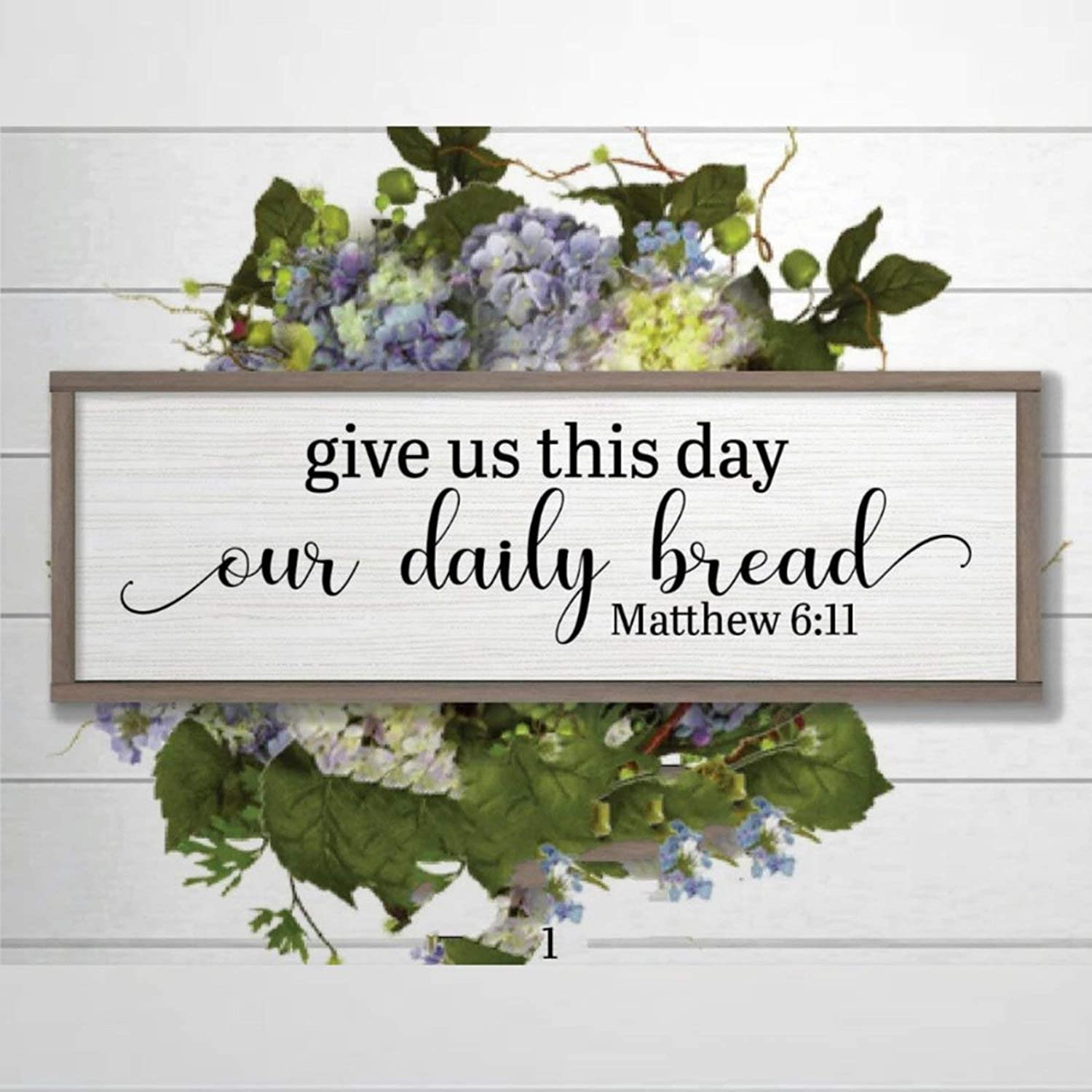 DONL9BAUER Framed Sign Give Us This Day Our Daily Bread Sign Farmhouse Decor Wood Sign Plaque Wall Hanging Christian Verse Present, Bible Saying Quotes, Scripture Wall Art Home Decor