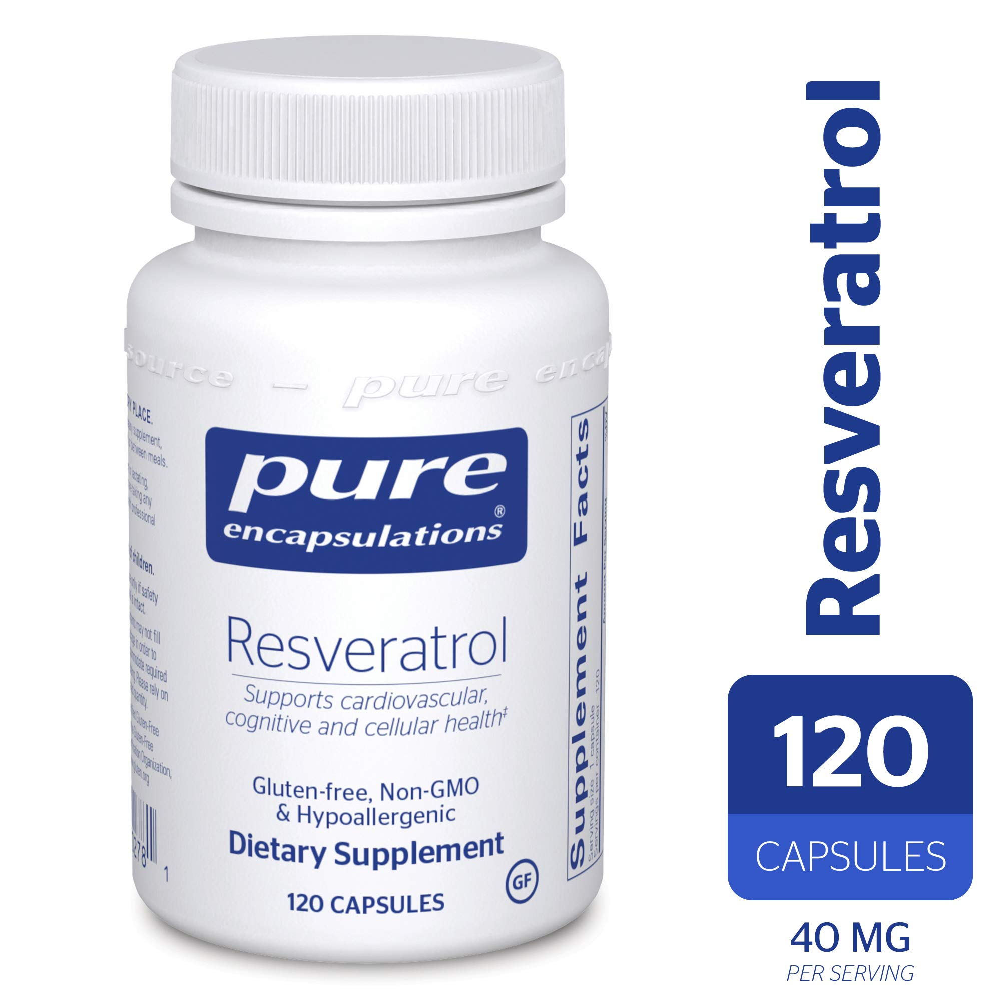 Pure Encapsulations - Resveratrol - Hypoallergenic Dietary Supplement for Antioxidant and Cardiovascular Support* - 120 Capsules