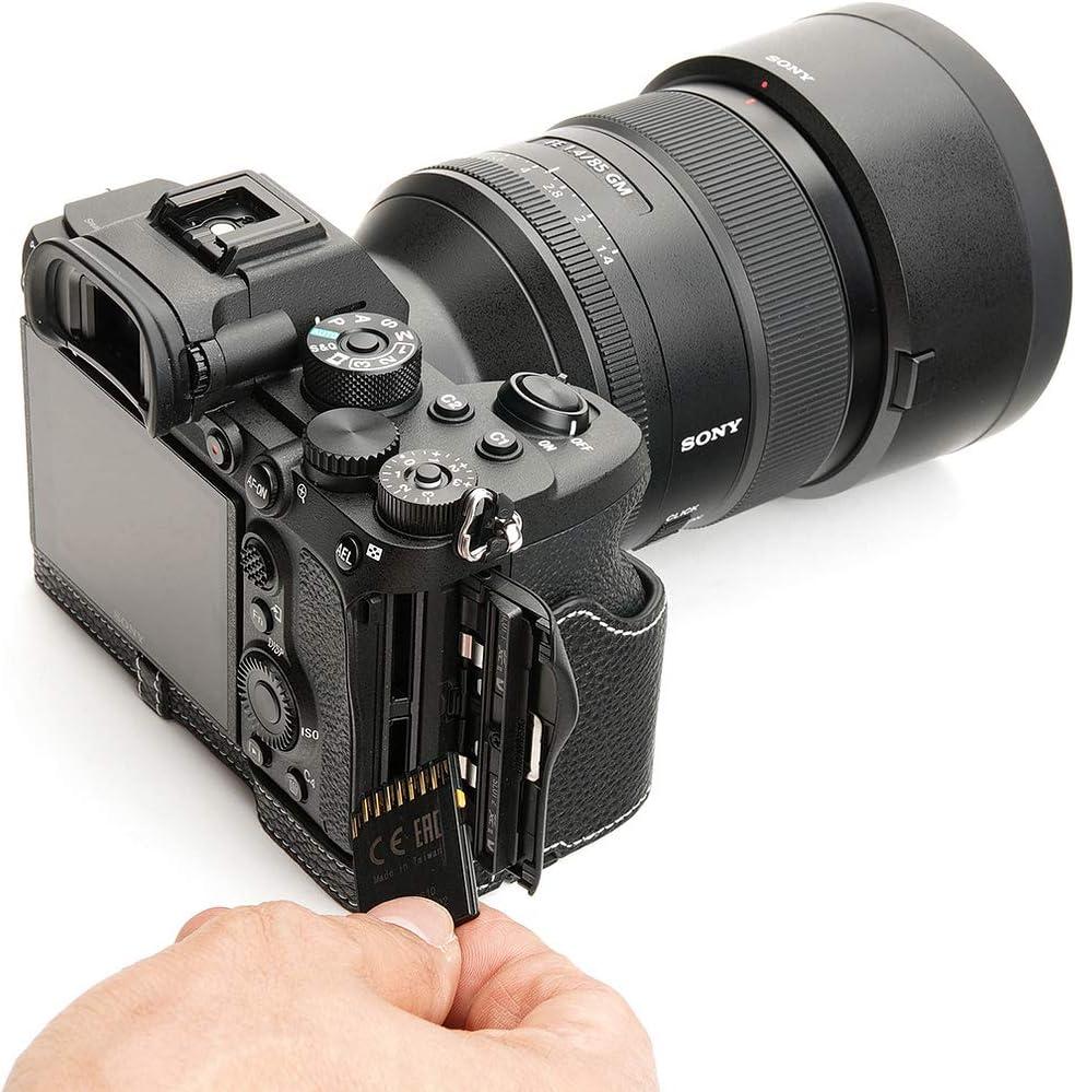 Handmade Genuine Real Leather Half Camera Case Bag Cover for Sony A7R IV A7R 4 A7R M4 Sandy Brown Color