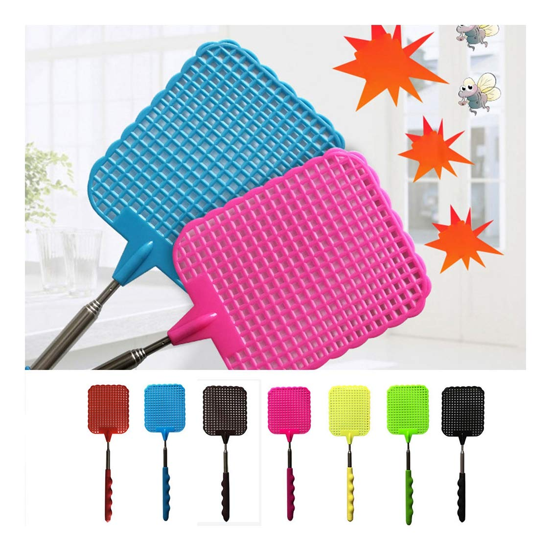 Sports & Outdoors Jeeke Fly Swatter Manual Swat Pest Control ...