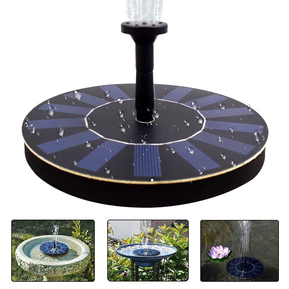 jxwstar Solar Fountain Pump Bird Bath,1.4w Portable Submersible Free Standing Solar Outdoor Fountain for Small Pond, Patio Garden (black)