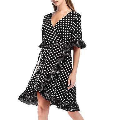 Women Summer Dress, HEHEM Womens Dot Printing Bandage Half Sleeve Chic Dress Party
