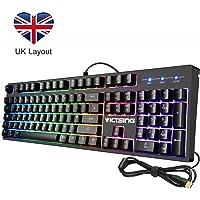 Gaming Keyboard【Mechanical Feeling, 7 Color RGB Backlit, 12 Multimedia Keys】VicTsing Durable Wired Keyboard Waterproof with Anti-ghosting, 7 Lighting Modes, 5 Adjustable Brightness Levels - UK Layout