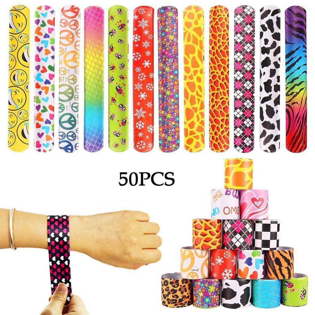 Offeir 50pcs Durable Portable Cute Cartoon Print Children Slap Bracelets Toy Beads