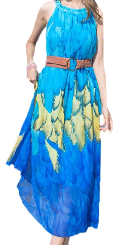 erdbeerloft - Damen lockeres langes Strand Kleid Tunika mit Federn Print, XS-M, Viele Farben