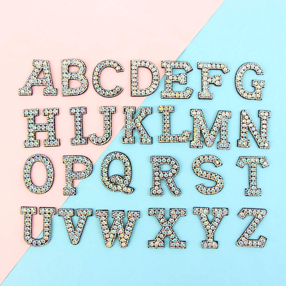E Dragonface A-Z Lettre Strass Alphabet 3D Applique thermocollants Patch V/êtements Badge V/êtements Sac Chaussures v/êtement Broderie Patches 1pcs